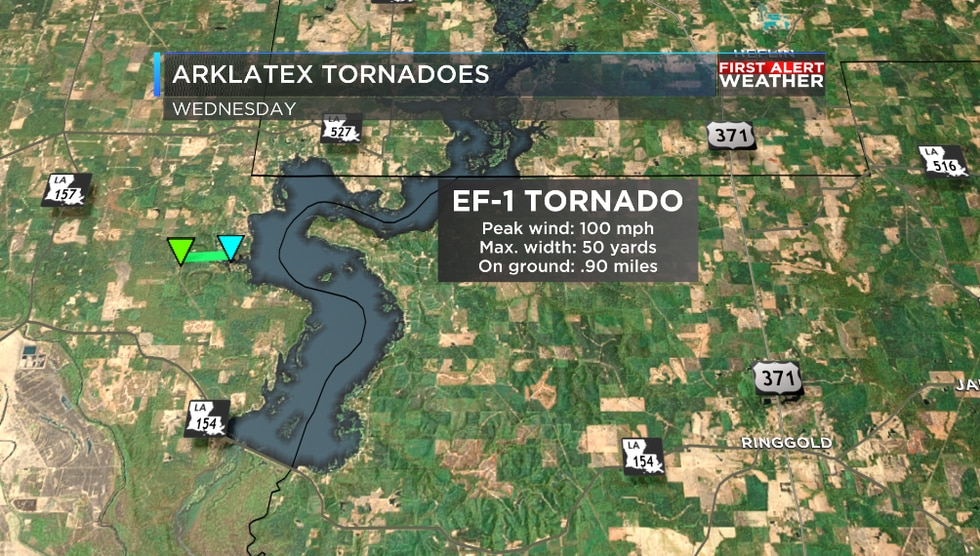 A tornado touched down in Bossier Parish on Wednesday