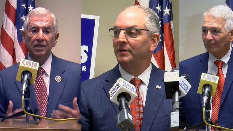 From left to right: Eddie Rispone, Governor John Bel Edwards, and Ralph Abraham