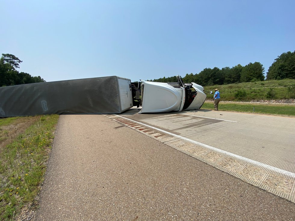 Overturned semi northbound on I-49