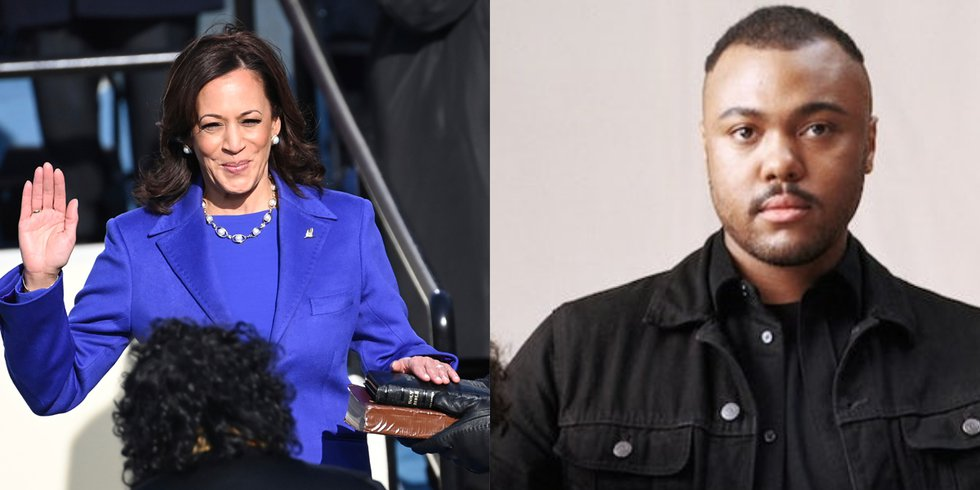The outfit Vice President Kamala Harris (left) wore while being sworn in on Wednesday, Jan. 20,...