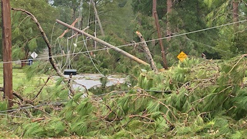 Damage in DeRidder where residents may not have power for at least a month.
