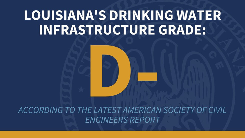 """Louisiana's drinking water infasctruce has been given a """"D-"""" by the American Society of Civil..."""