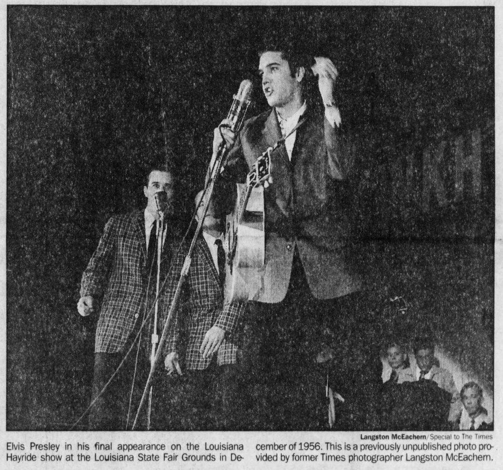 Elvis Presley in his final appearance on the Louisiana Hayride show at the Louisiana State Fair...