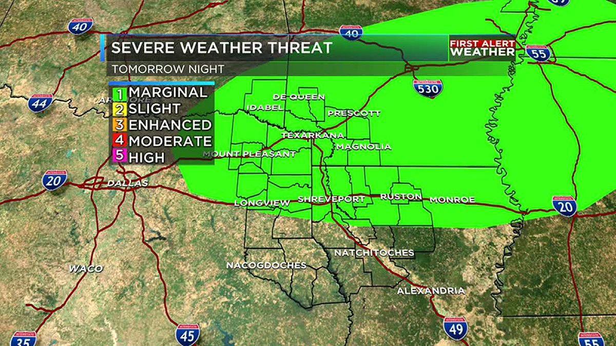 Severe weather threat Tuesday night