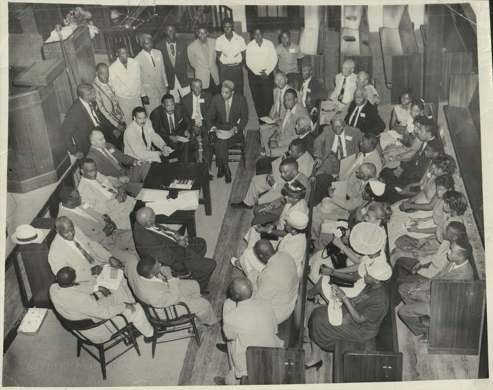 This photo was taken during a meeting Aug. 14, 1958, at Galilee Baptist Church in Shreveport....