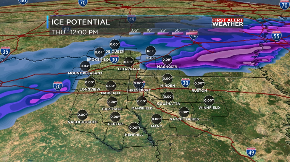 Ice potential Wednesday night into Thursday morning