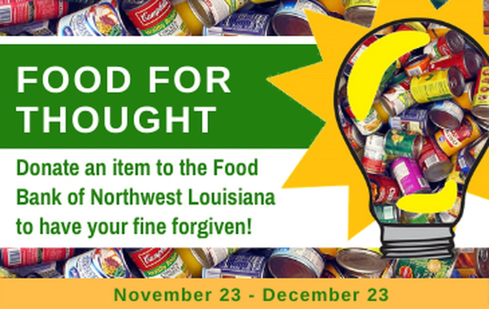 Shreve Memorial Library is forgiving fines for overdue materials if you donate food to be given...
