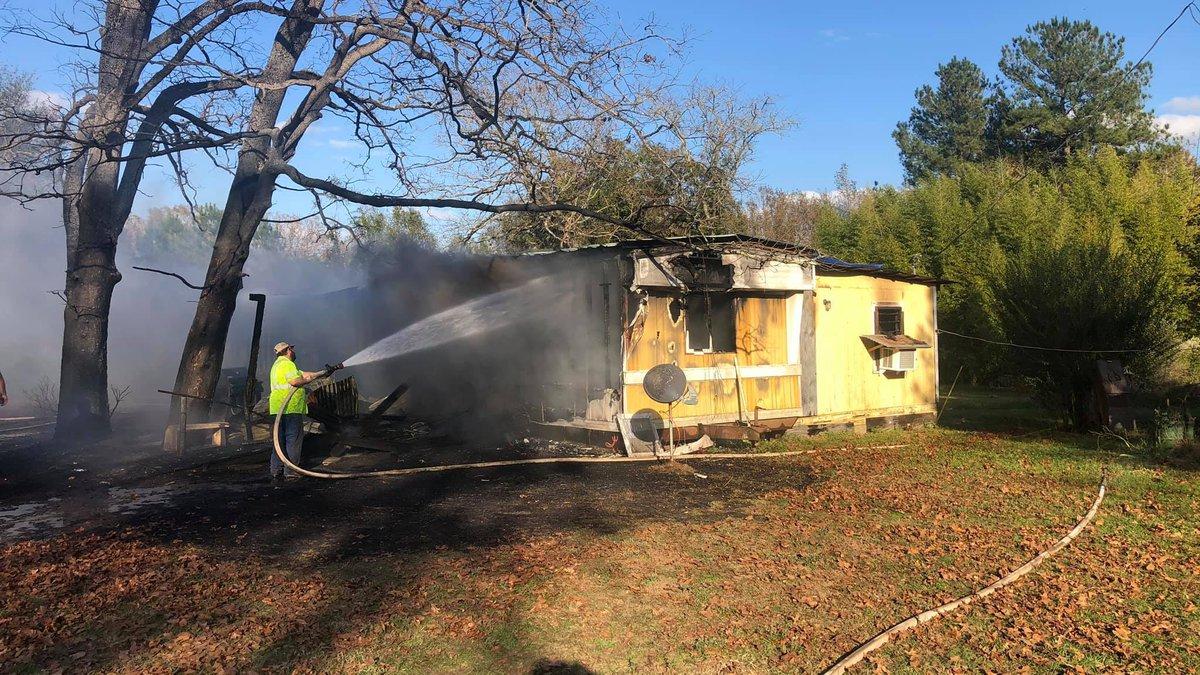 Mobile home fire near Robeline, LA, on Thursday, Nov. 19.