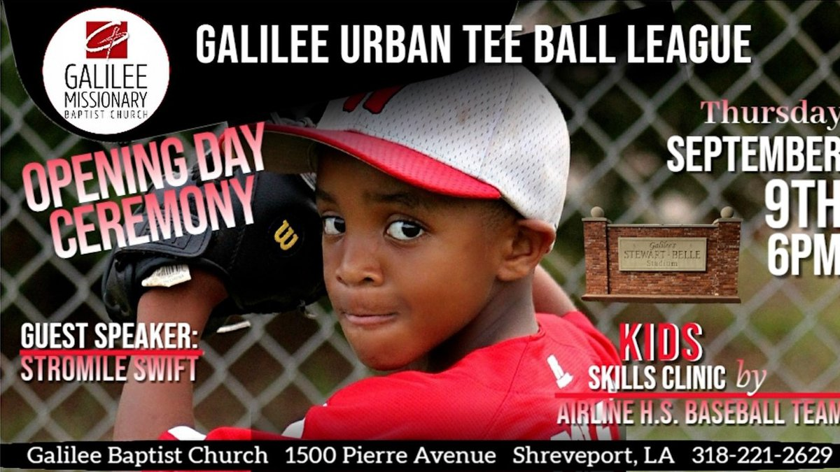 Galilee Baptist Church will host an opening day event for its Urban Tee Ball League at 6 p.m....