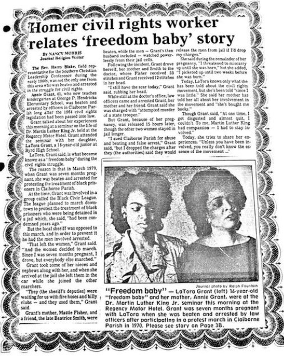 """A newspaper article describes Dr. Latora Grant Scott as a """"freedom baby"""" because she almost was..."""