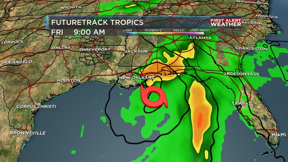 The American model shows a tropical system near the central Gulf Coast.