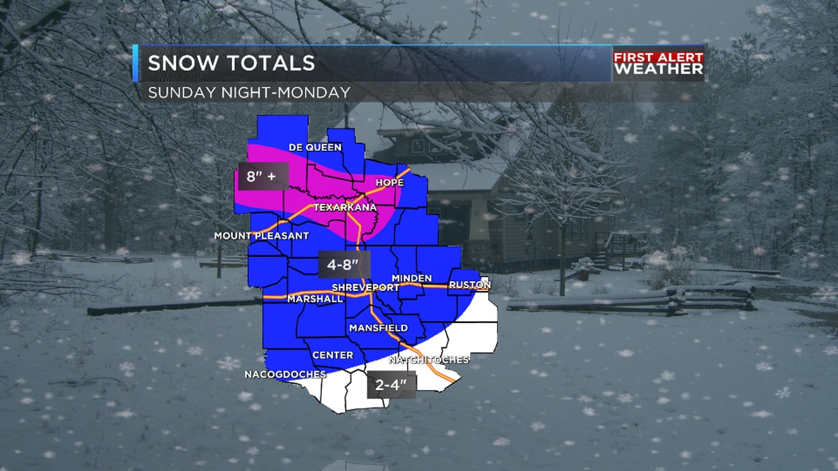 Snow totals from across the ArkLaTex