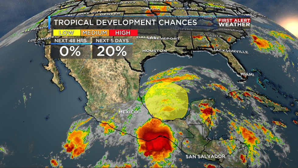 There's a low chance of tropical development in the Gulf in the next 5 days.