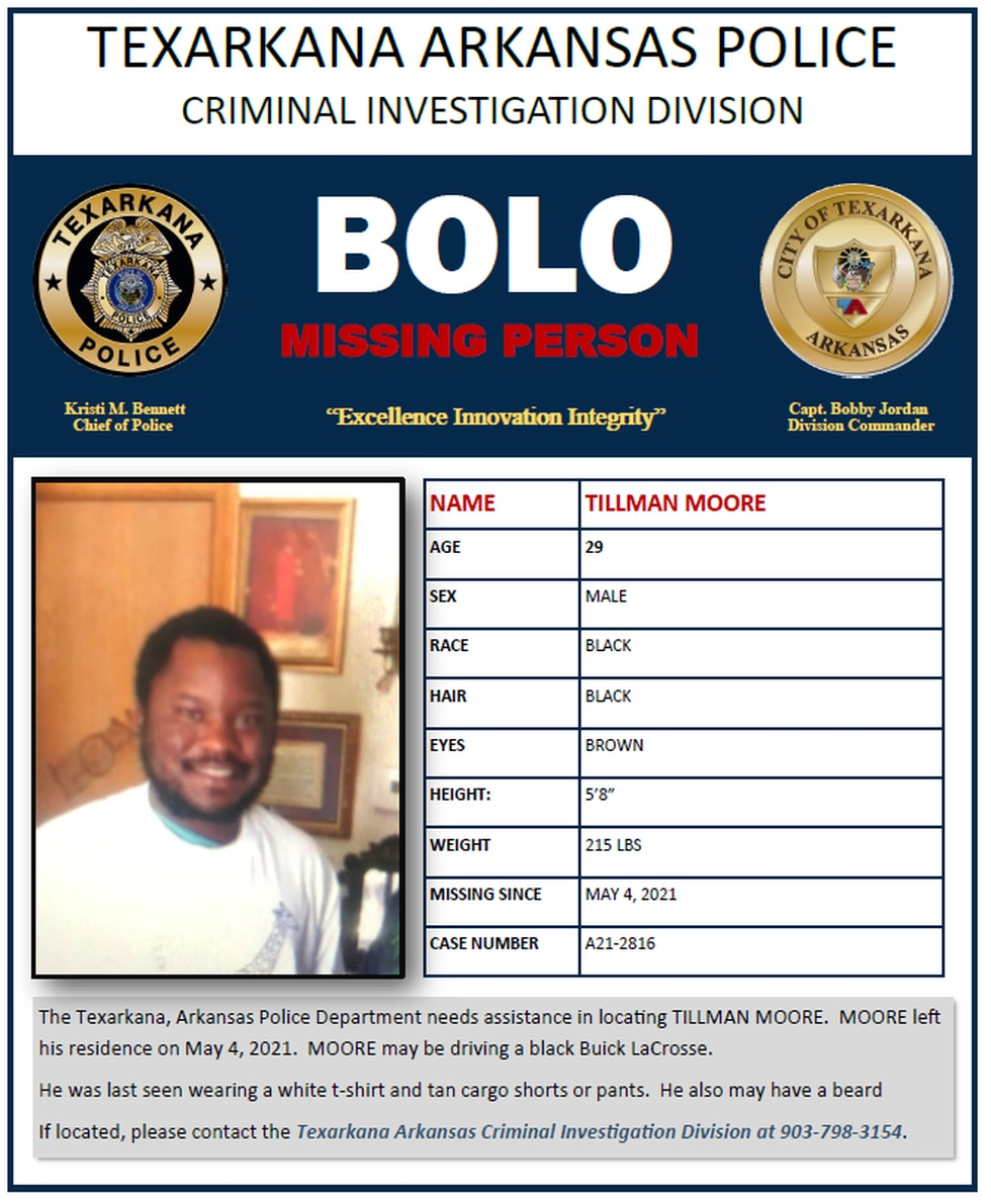 Tillman Moore, 29, was last seen May 4, 2021.