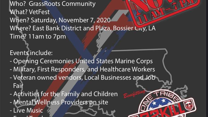 Vet Fest Louisiana is November 7 from 11am-2pm at Bossier City's East Bank District.