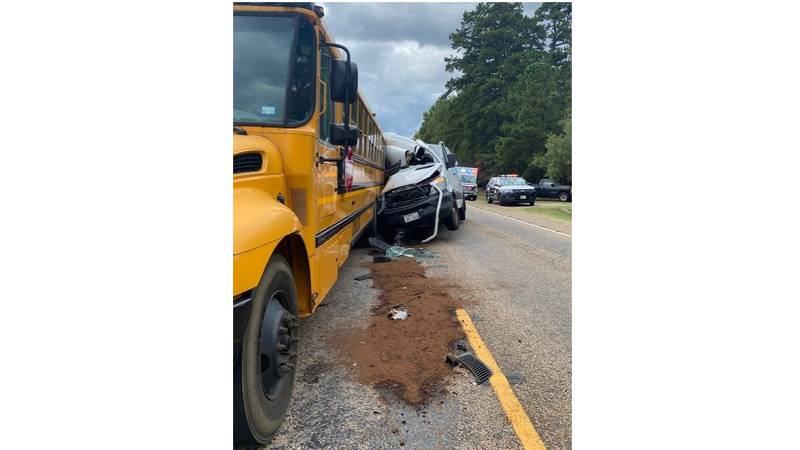 Four students suffered minor injuries when a van ran into the rear of Gilmer ISD's Bus 35 on...