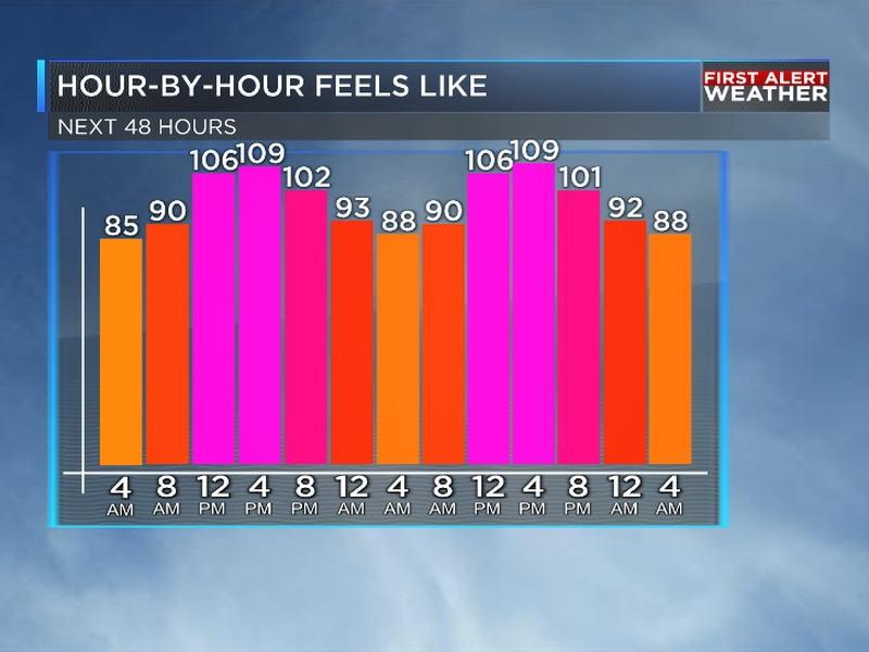 We are tracking intense heat for your Friday with 'feels-like' temperatures near 110 degrees.