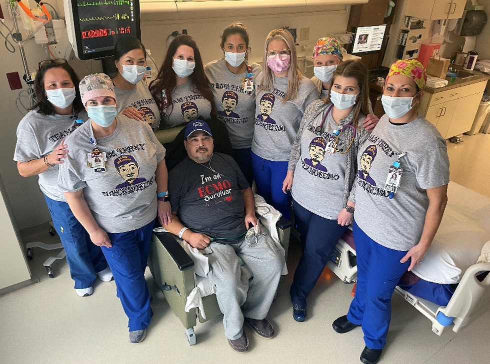 53-year-old Terry Roberson and some of the members of Willis Knighton's critical care unit.