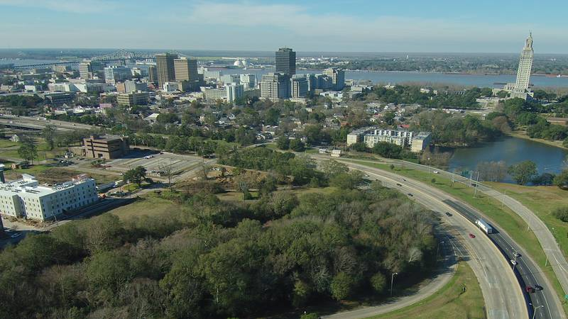 Aerial view of downtown Baton Rouge, La.