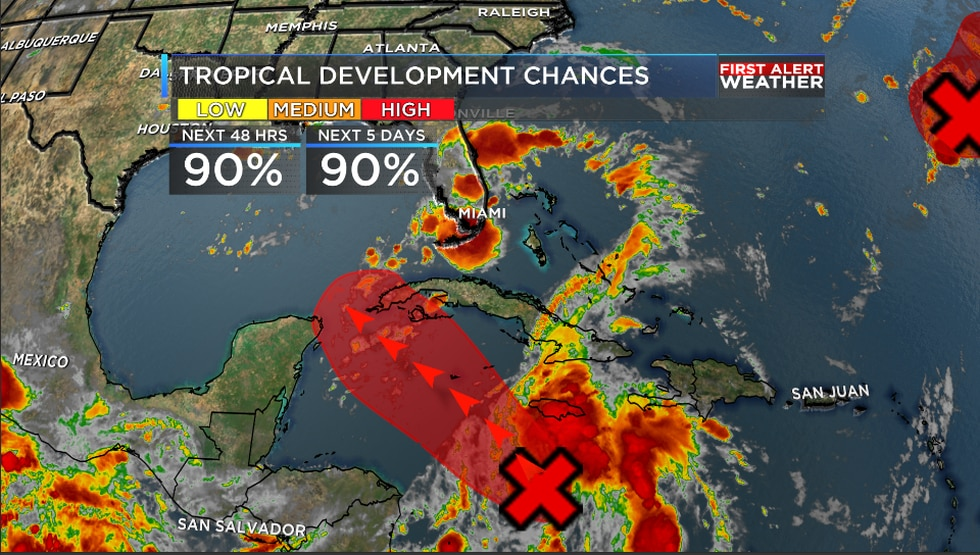 The tropical wave in the Caribbean could become our next tropical cyclone later today.