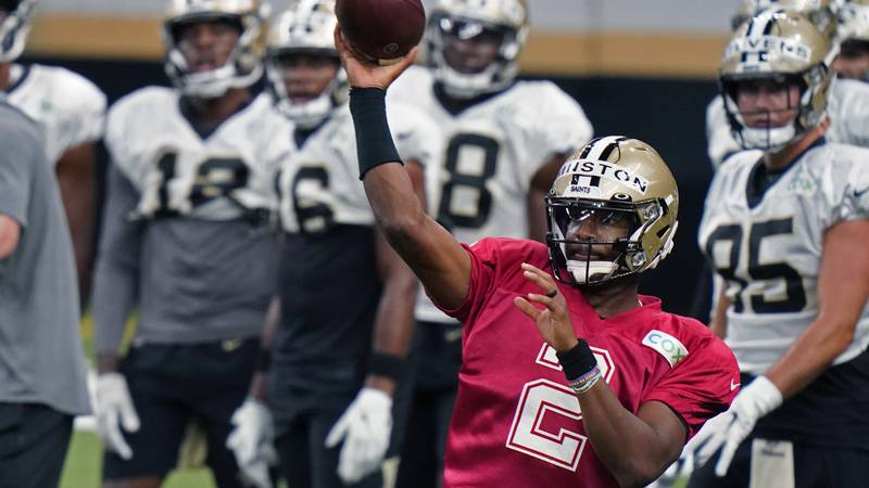 New Orleans Saints quarterback Jameis Winston (2) passes during NFL football practice in New...