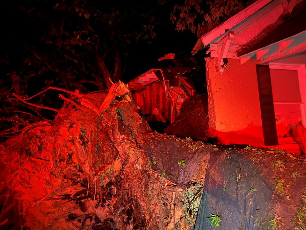 Fire crews rescued two women and a child after a tree fell on two houses in the 1600 block of...