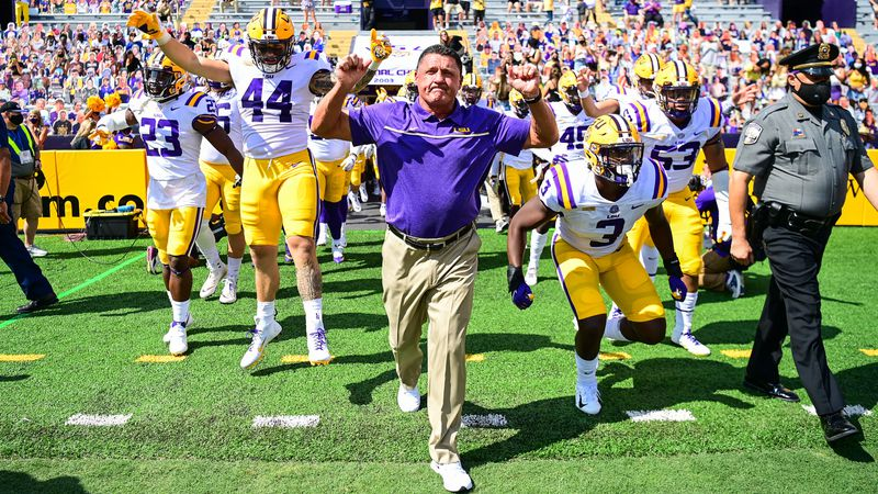 LSU Tigers play against Mississippi St. Bulldogs during a game in Tiger Stadium in Baton Rouge,...