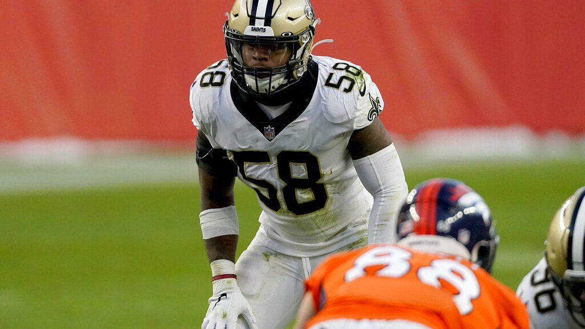 FILE - In this Sunday, Nov. 29, 2020 file photo, New Orleans Saints outside linebacker Kwon...