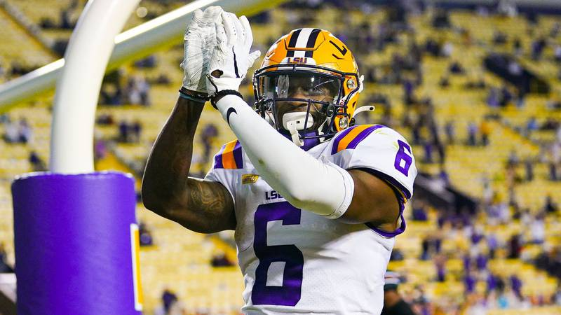 Terrace Marshall Jr. during the first half of a game between LSU and South Carolina at Tiger...
