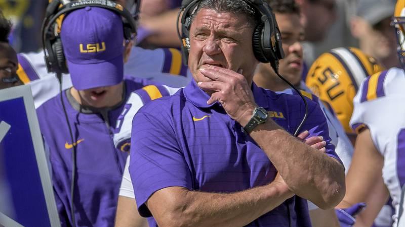 LSU head coach Ed Orgeron watches during an NCAA college football game against Florida in Baton...