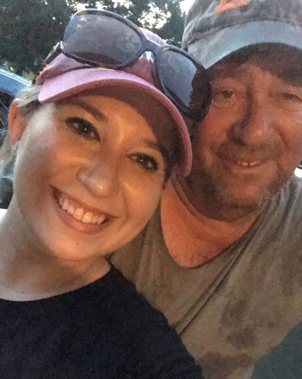 Amy Bush and her father, Delbert, who just retired as a lineman after 46 years.