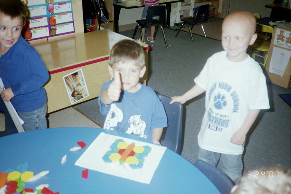 A young Bryce Norwood after returning to his pre-K class after months at St. Jude's Childrens...