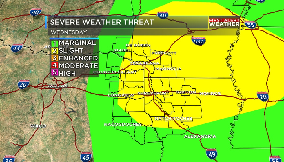 The severe weather outlook for Wednesday includes all of the ArkLaTex