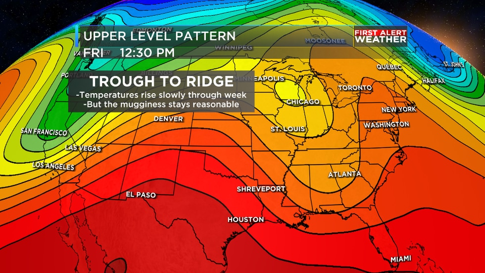 We are tracking rising temperatures on the way once we get to the end of the week for the region.