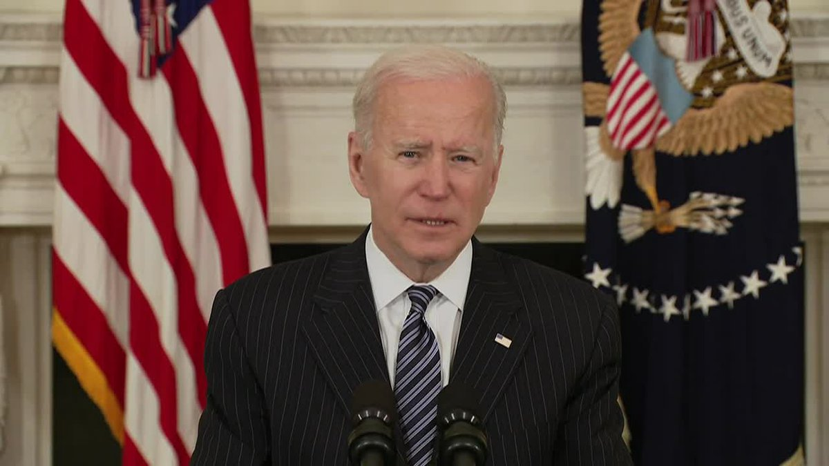 President Joe Biden urges Americans to get vaccines and continue wearing masks until enough...