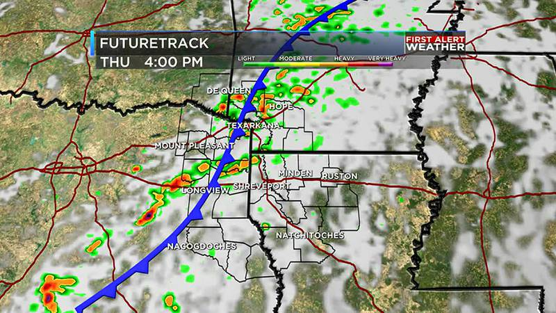 The cold front will bring rain initially then sunshine and cooler temperatures