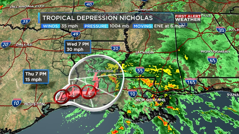 Nicholas continues to weaken this morning with most of the moisture displaced well off to the...