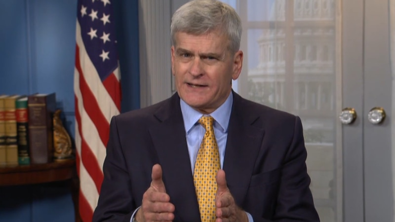 Sen. Bill Cassidy speaks to Louisiana reporters a day after meeting with President Biden on a...