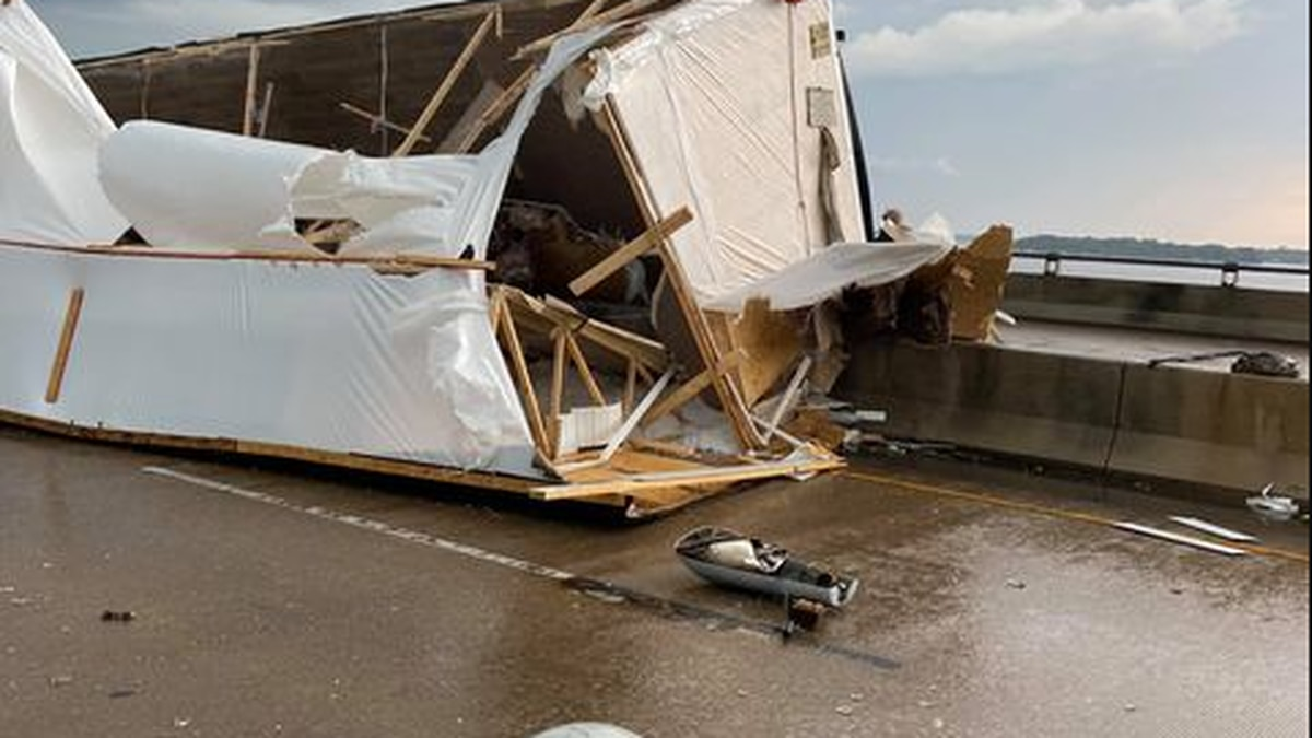 A mobile home being towed on I-220 E on Cross Lake Bridge in Shreveport, La. flipped during...