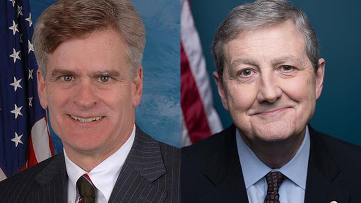 Sens. Bill Cassidy (left) and John Kennedy (right)