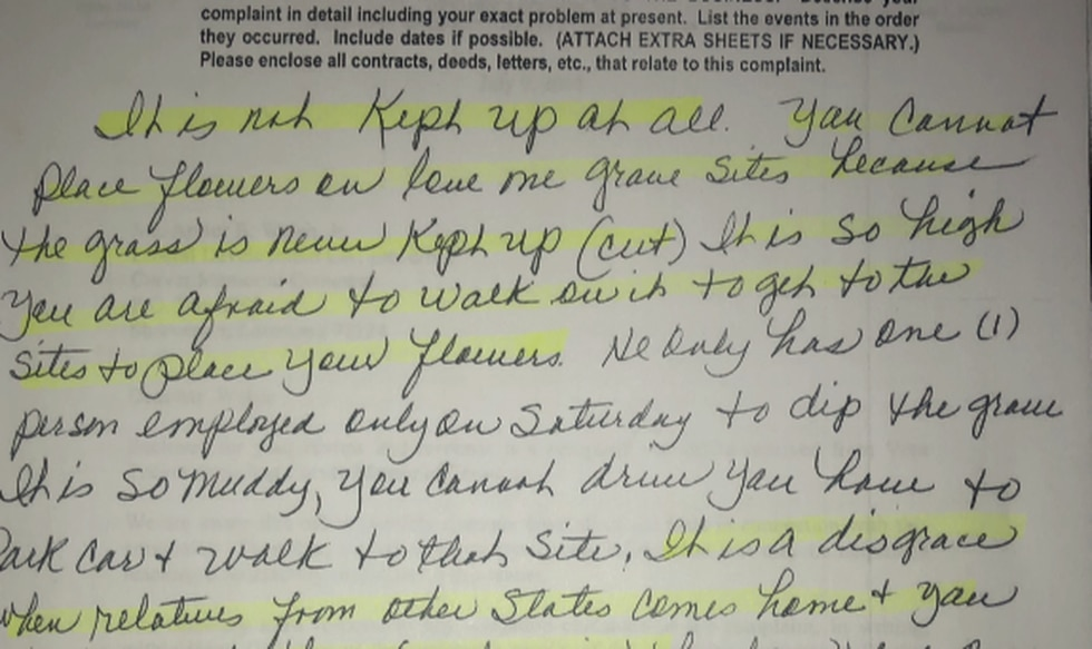 Letter from a family member to Louisiana Cemetery Board expressing disappointment in the upkeep...