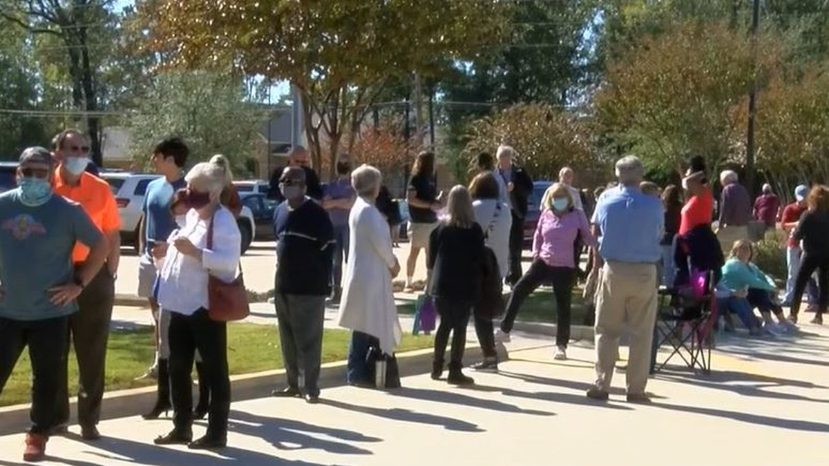 People wait for their turn to vote Nov. 3 at a precinct in Caddo Parish.