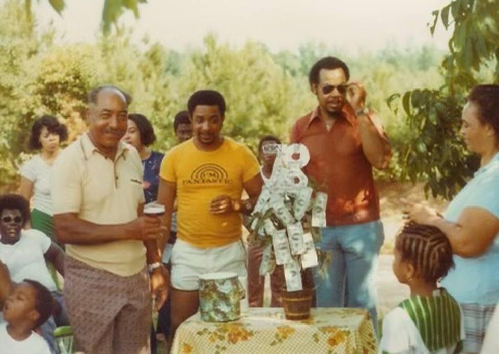 Seab Horn (far left in yellow shirt) at a family gathering decades ago. Mr Horn turned 105 on...