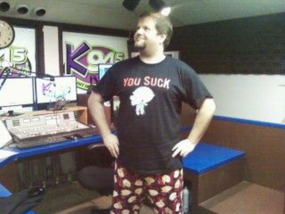 DJ Stiffler, K94.5 midday personality and proud public pajama proponent