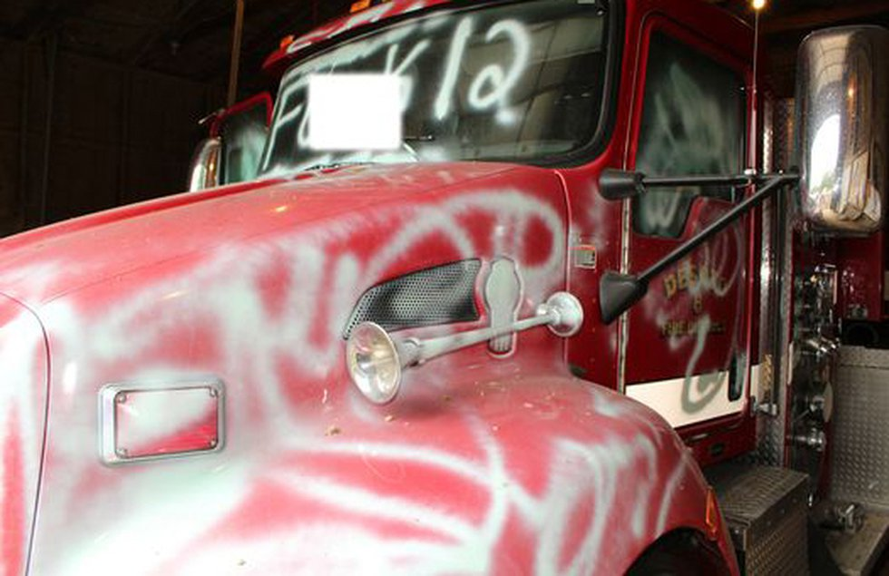 A DeSoto Parish fire truck was spray painted on or around July 5, 2021.