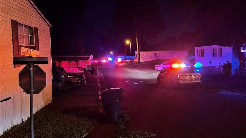 SPD responding to a shooting at the Pinecrest Mobile Home Village.