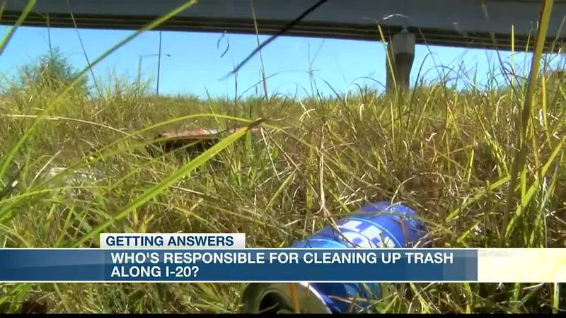 Who's responsible for cleaning up trash on I-20?