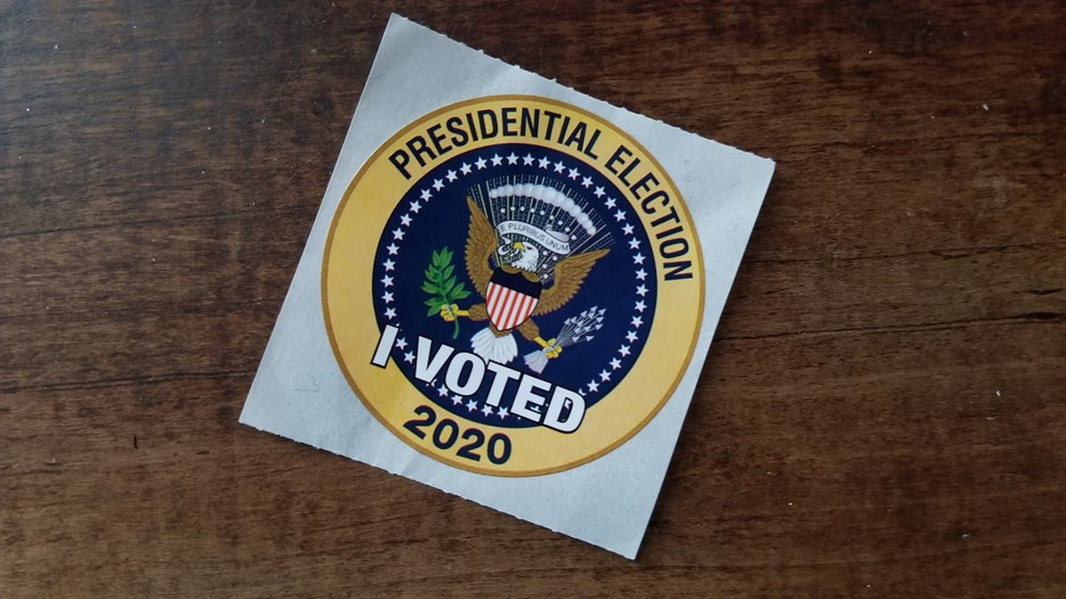 Voting sticker from the 2020 presidential election.