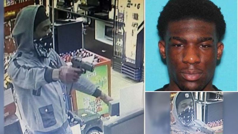 Texarkana, Texas, police say these surveillance camera images show the gunman who robbed two...