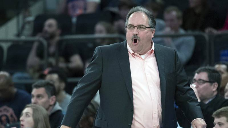 FILE - In this March 31, 2018, file photo, Detroit Pistons head coach Stan Van Gundy reacts...